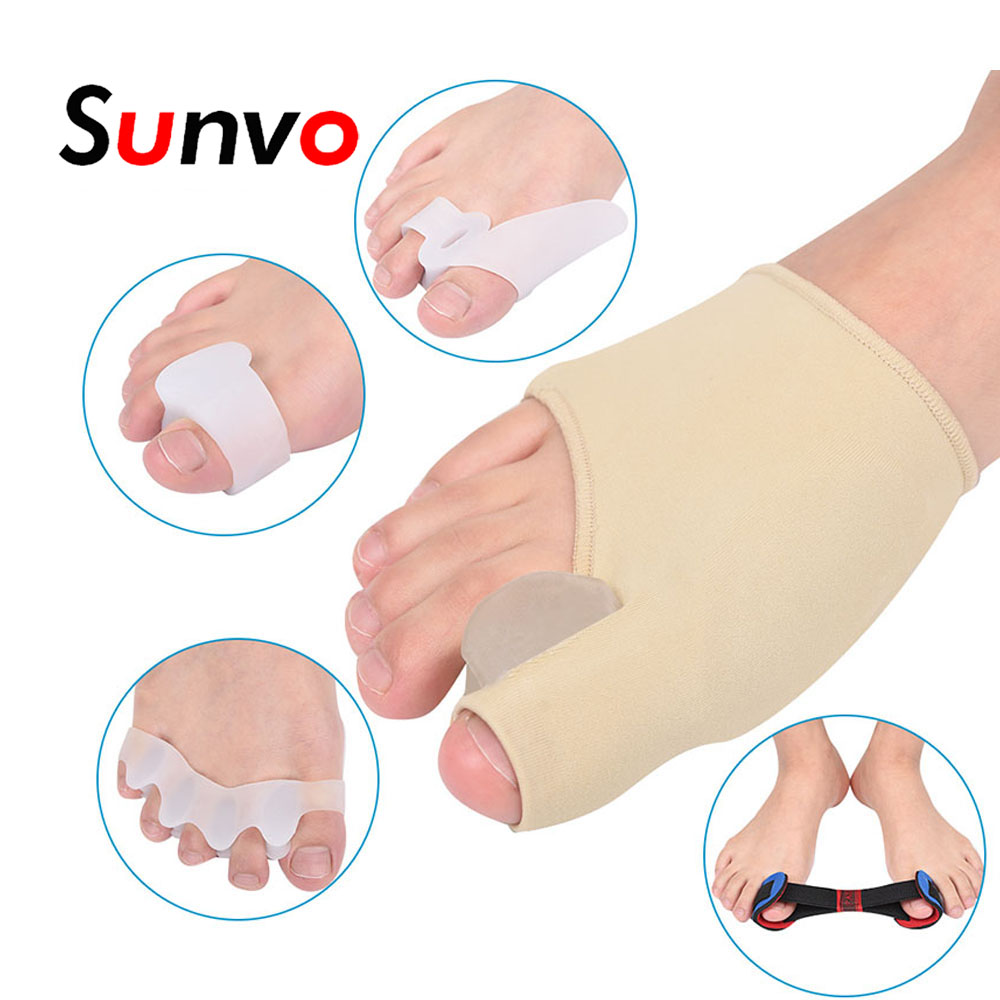 5 pçs/sets Separadores Hallux Valgo Órteses Gel Nylon Stretch Pad Silicone para Corretivas Dedos Sobrepostos Cuidado Inserções