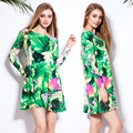 2016 Mulheres Da Moda Outono Vestido De Mangas Compridas 100% Algodão Babados Vestidos de impressão O pescoço Das Senhoras Mini Vestido Curto Vestido de festa