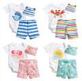 3PCS Cartoon Baby Clothing Set Cotton Newborn Baby Romper Set Children Kids costume Infant Girls Boys Clothes Set Summer
