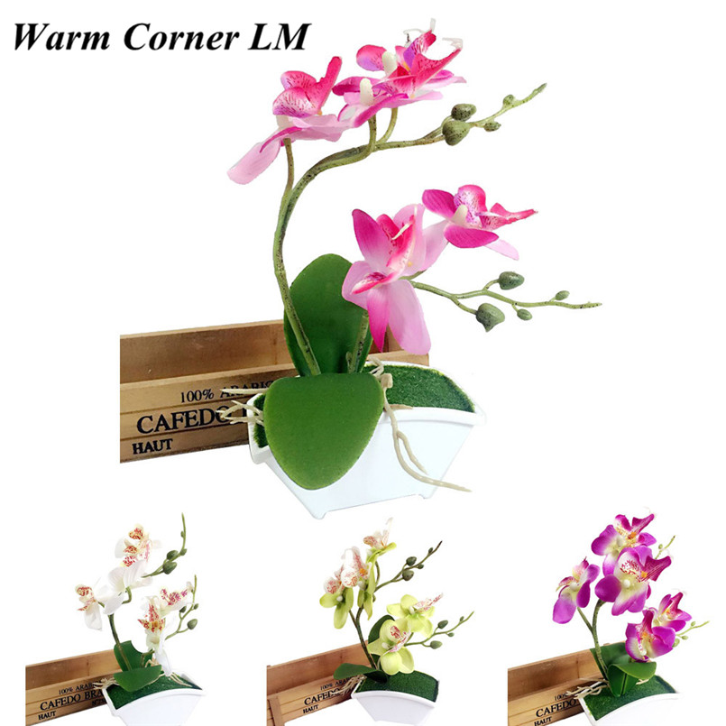 1pc artificial flower bonsai double fork butterfly orchid for Arranging accessories