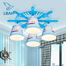 The Mediterranean children room chandelier European creative cartoon study lamp Boys and girls bedroom lamps and lanterns