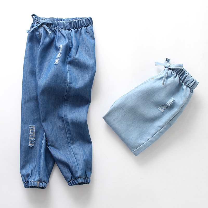 Soft Summer Kids Jeans 2019 New Casual Blue Girls Denim Pants Elastic Waist 2 3 4 5 6 Year Boys Jeans Toddler Children Trousers(China)