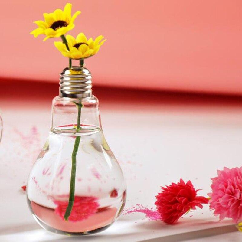 Accueil Décor Brillant Décoration De Mariage Lumière Ampoule Transparent Vase En Verre Fleur Hydroponique Vase D5