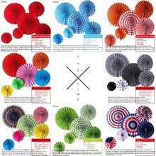 6pcs/lot Cheap Paper Fans For Wedding Tissue Paper Fans Flowers Birthday Party Holiday