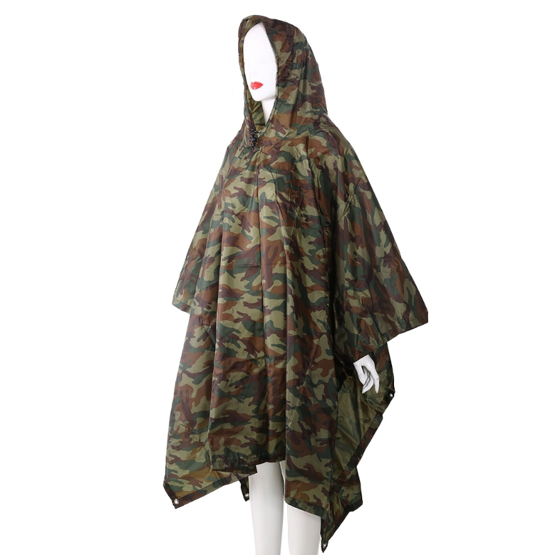 3in1 Outdoor Camping Backpack Rain Cover Poncho Coat Camouflage Tent Awning Mat