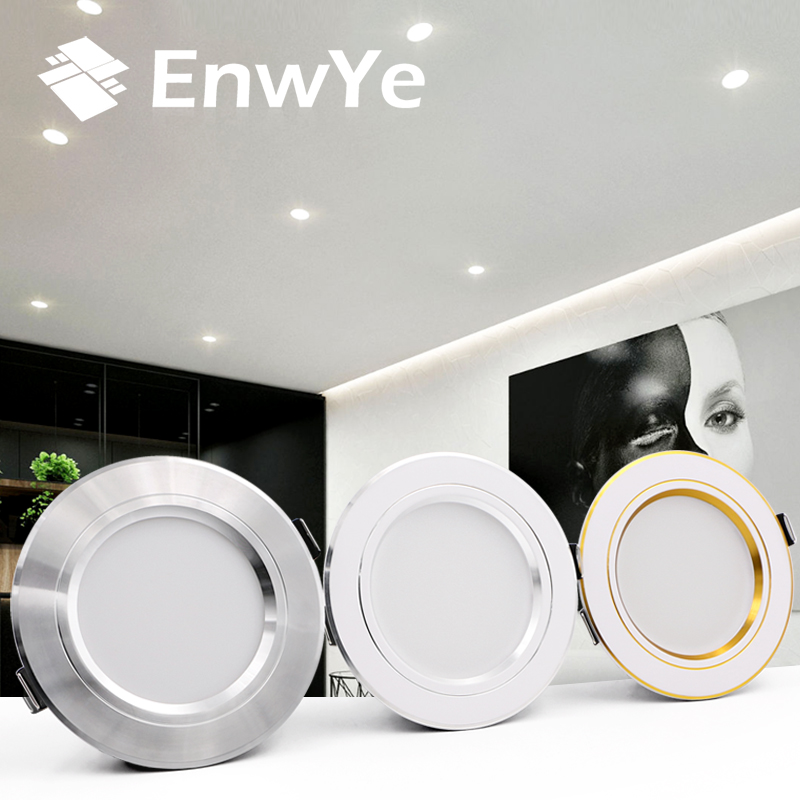 6pcs EnwYe LED Downlight Ceiling Warm White/Cold White 5W 9W 12W 15W 18W Led Ceiling Lamp AC 220V 230V 240V New Type Downlight