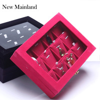 Hot Sale Fashion Accessories Box Wedding Birthday Gifts Pendant Necklace Storage Velvet Jewelry Display Boxes Free