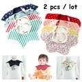 2017Hot 2Pcs/lot Baby Cotton Bibs Set Toddles 360Degree Rotation Round Neck Saliva Towel High Quality Infant Gift Burp Cloth Set