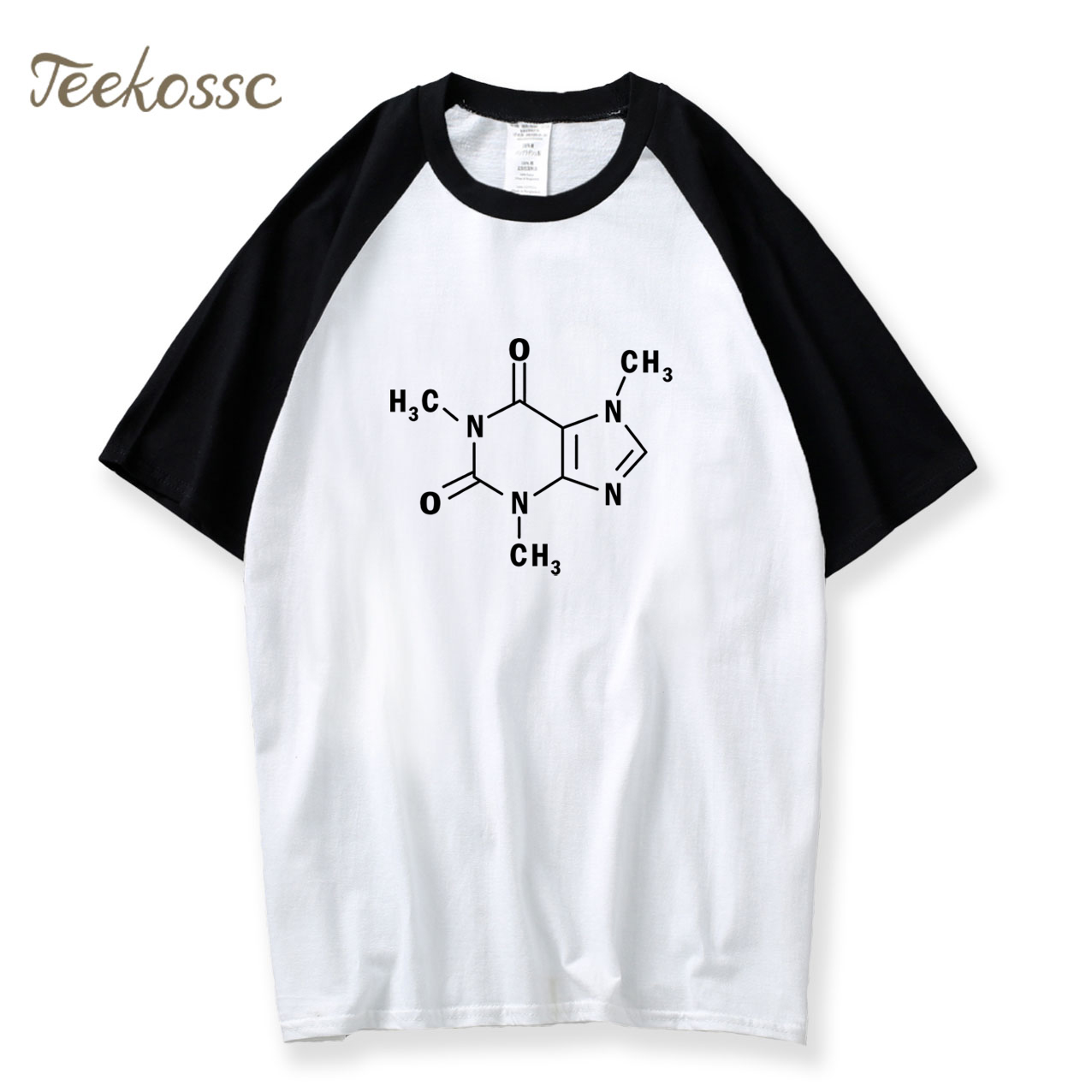 The Big Bang Theory T-shirt Men Caffeine Molecular Formula Sheldon Tees Novelty Swag Hot Summer Raglan T shirt Camiseta Formulas