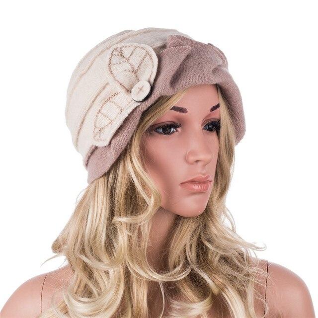 Kadın kış şapka yaprakları dantelli etkisi yün bere şapkalar kadınlar için Cloche kova şapka bayanlar şapkalar sonbahar kış Skullies kap A375