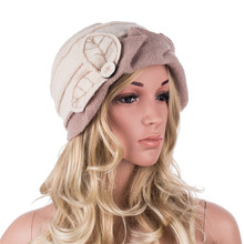 여성 겨울 모자 잎 Ruched 효과 양모 Beanies 모자 여성용 Cloche 양동이 모자 숙녀 모자 가을 겨울 Skullies 모자 A375