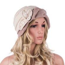 النساء الشتاء قبعة يترك Ruched تأثير الصوف قبعة حريمي للنساء قاء زجاجي دلو القبعات السيدات القبعات الخريف الشتاء Skullies قبعة A375