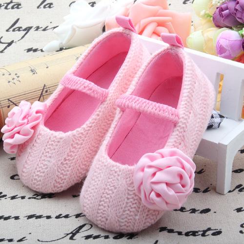 Nueva Pink Baby Girl Shoes Primeros Caminante Nacidos Zapatos de La Flor Zapatos de Bebé Bautismo Enfant Chaussure Fille