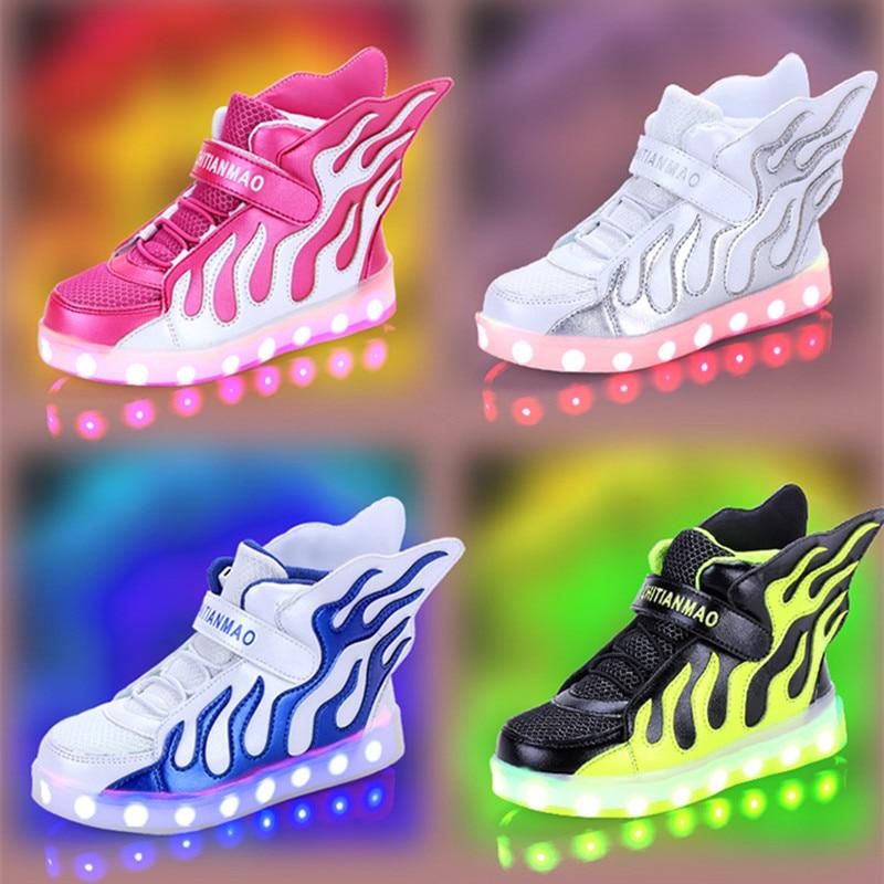 LED qız ayaqqabıları parıldayan tenis led infantil işıqlı - Uşaq ayaqqabıları - Fotoqrafiya 1