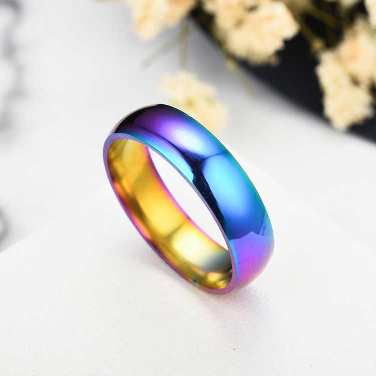 Kolorowe Rainbow stal nierdzewna 316L moda błyszczący twarz pierścionki dla par dla kobiet mężczyzn dzieci fajny chłopak klasyczna biżuteria anillos mujer