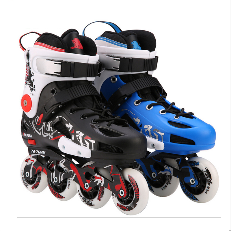 Original Cougar MZS307 Slalom Inline Skates Roller Skating Shoes Slalom Sliding Free Skating Shoes Patines Adulto Patins Sneaker labeda slalom inline skates 4 wheels adult skating shoes with rocking type pu wheels for free skating sliding street skating