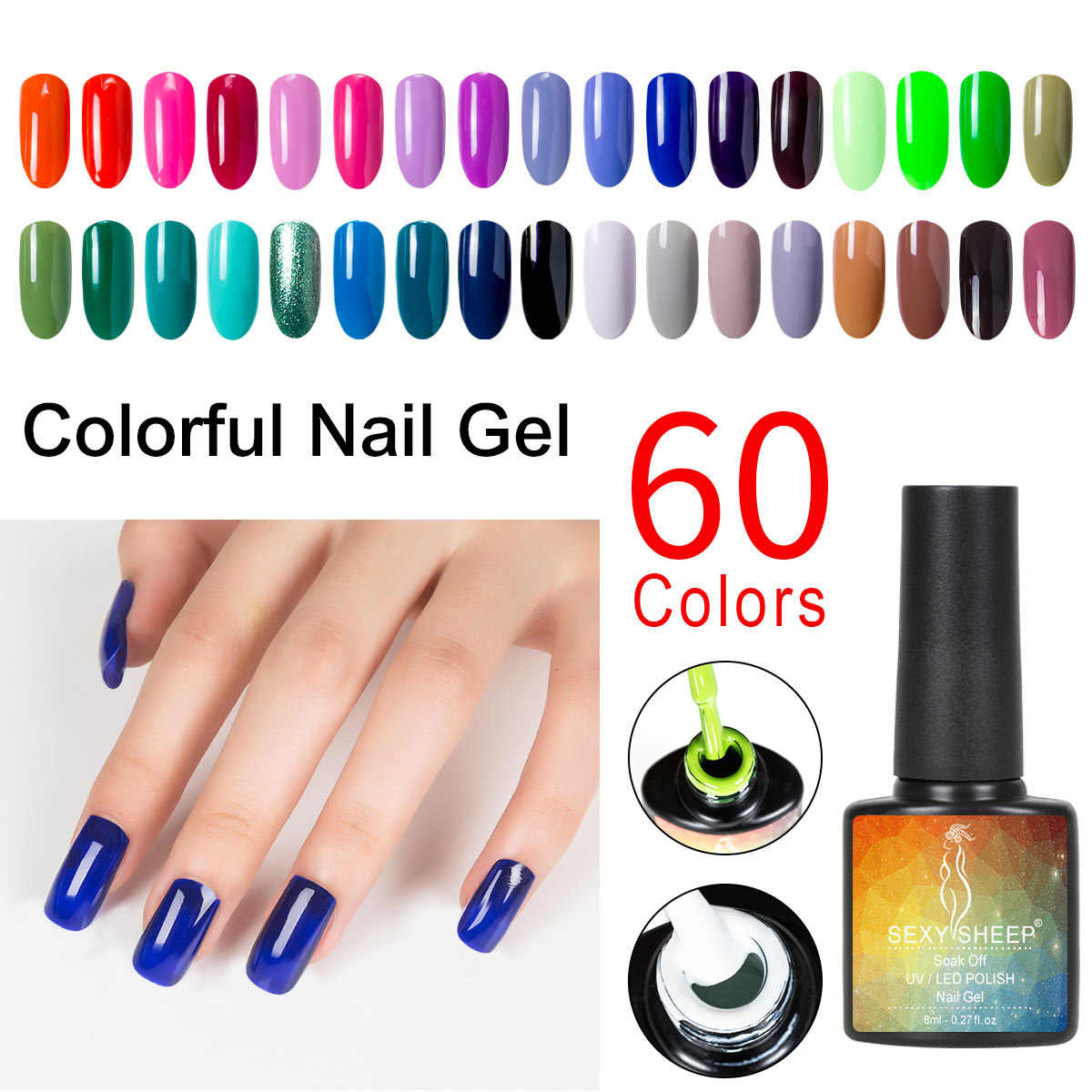 8ML Gel Nail Polish UV LED Nail Varnish For Manicure 60 Colors Gel Lacquer Semi Permanent Gel Paint Nail Art DIY Design Tools