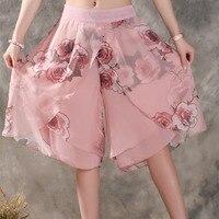 Donne di estate fiore stampa etnica gamba larga pant allentato vestito chiffon pantaloni corti casual femminile pantaloni del pannello esterno culottes kl170