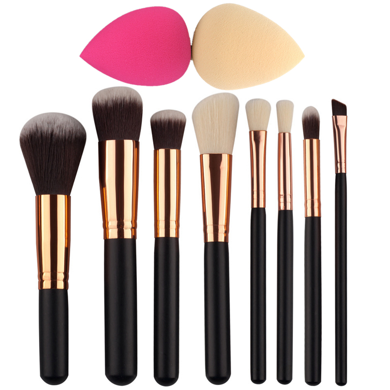 8Pcs Rose Gold Makeup Brush Set Eye Shadow Powder Blush Foundation Brush +2pc Sponge Puff Make Up Brushes Pincel Maquiagem makeup sponge blender blending puff flawless powder foundation make up sponge cosmetics maquiagem pinceaux de maquillage