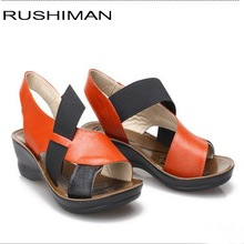 RUSHIMAN 2018 Genuine leather ladies sandals female womens slope with comfortable orange shoes size 35-40