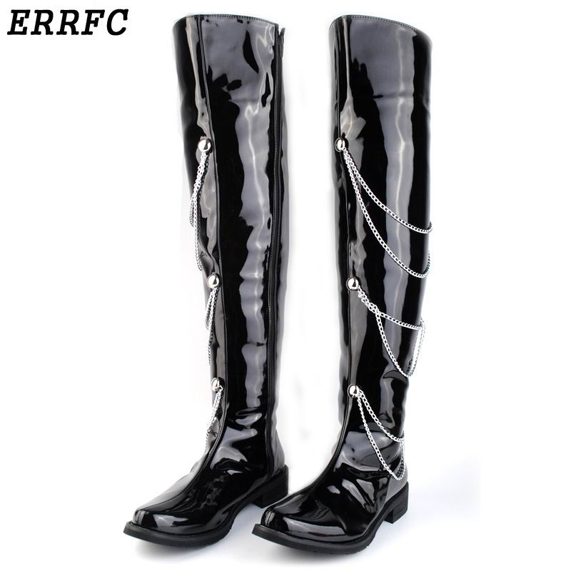 ERRFC Fashion Forward Black Motorcycle Boots Men Patent Leather Over The Knee 66cm Pole Dancing Boot