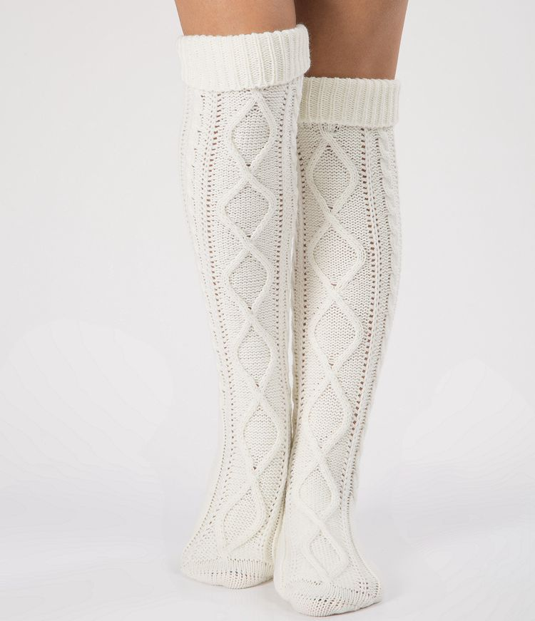 Knitted Argyle Pattern Long Socks Over Knee Height Warm Thick Leg Warmers Women Boots Accessory 7colors Crochet Drop Shipping