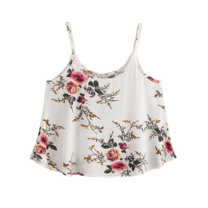snowshine YLI Women Casual Sleeveless Floral Crop Top Vest Tank Shirt Blouse Cami Top