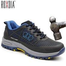 ROXDIA de acero marca puntera hombres trabajo y botas de seguridad de verano transpirable aislamiento 6KV resistente al impacto zapatos de hombre tamaño 38- 44 RXM115