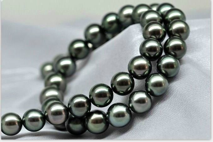 FREE SHIPPING>>>stunning AAA 12mm tahitian round black green pearl necklace 18inch silver FREE SHIPPING>>>stunning AAA 12mm tahitian round black green pearl necklace 18inch silver