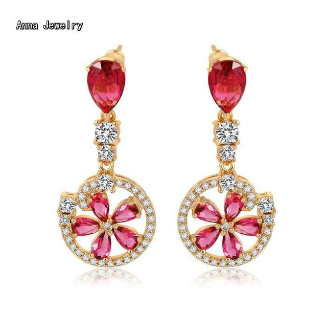 New Elegant Designer Pink Stones Stud Earring In Rose Gold Color With Clear