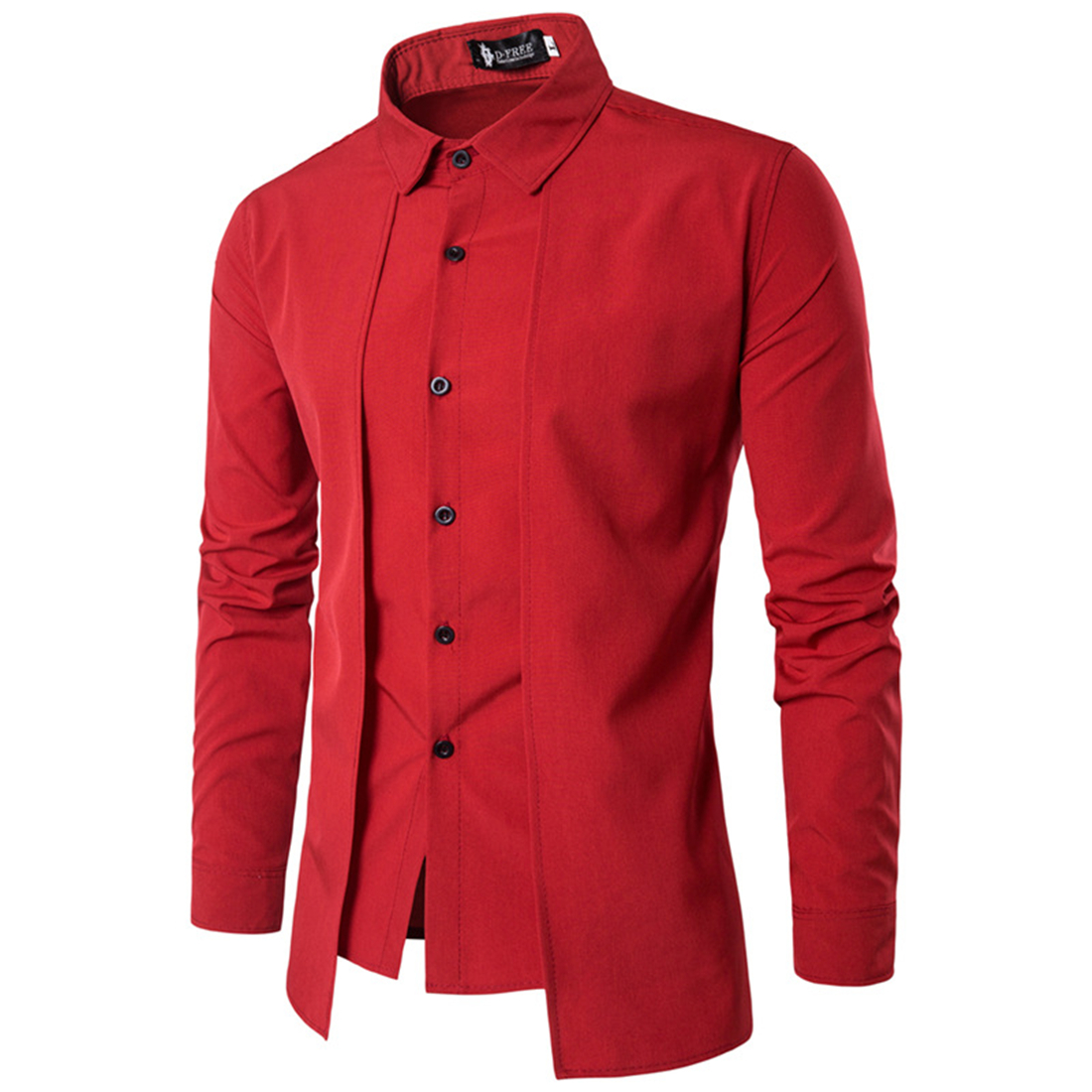 Red Black White Blue Shirt Men Long Sleeve Patchwork Tuxedo Shirts Summer Single-Breasted Irregular Dress Shirts 2017 Fake 2PCS