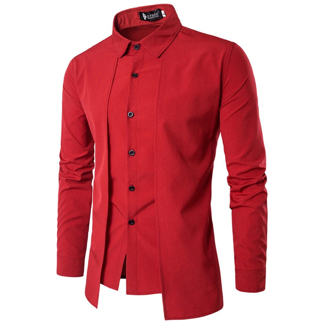 Rosso Nero Bianco Blu Camicia Uomo Manica Lunga Patchwork Tuxedo Camicie Estate Monopetto Irregolare Dress Shirts 2017 Falso 2 PZ