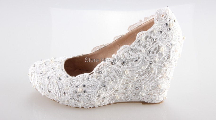 BS399 Free Shipping Wedge Heel 8cm Lace Bridal Wedding Shoes Party Shoes In  Womenu0027s Pumps From Shoes On Aliexpress.com | Alibaba Group