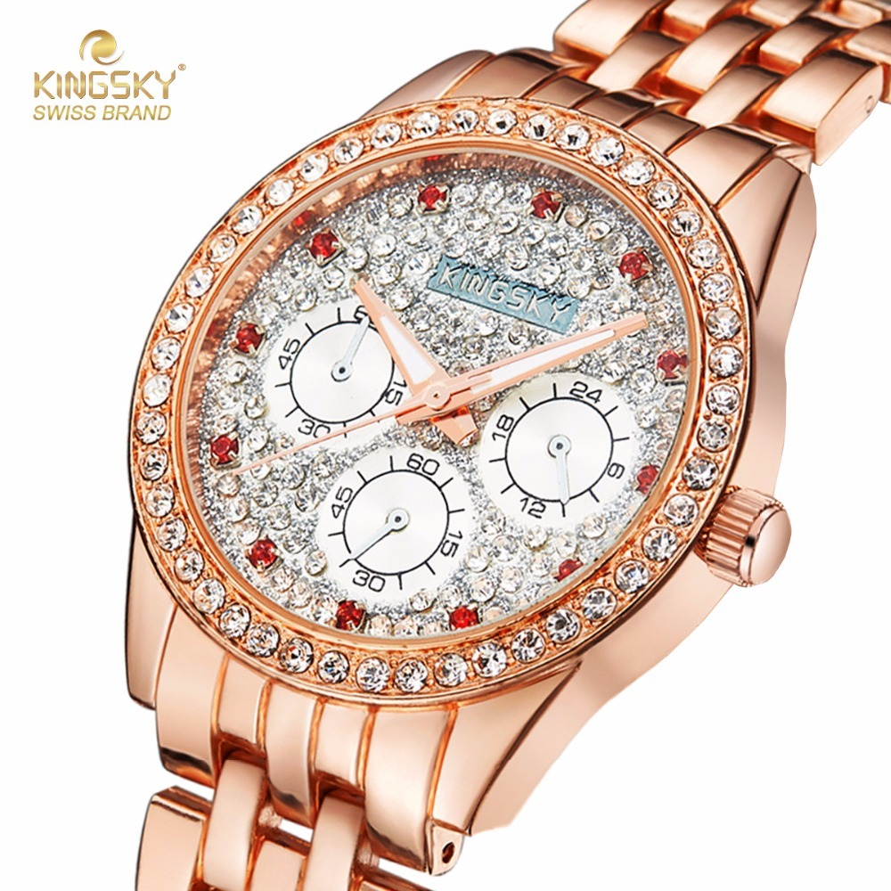 KINGSKY Ladies Quartz Wristwatch Steel Case Hot Fashion Famouse Brands Watches Analog Women Dress Watch 2017 New 021008-1# kingsky big case women watches fashion gold rhinestone strap small round dial quartz wristwatch for lady dress 2017 new
