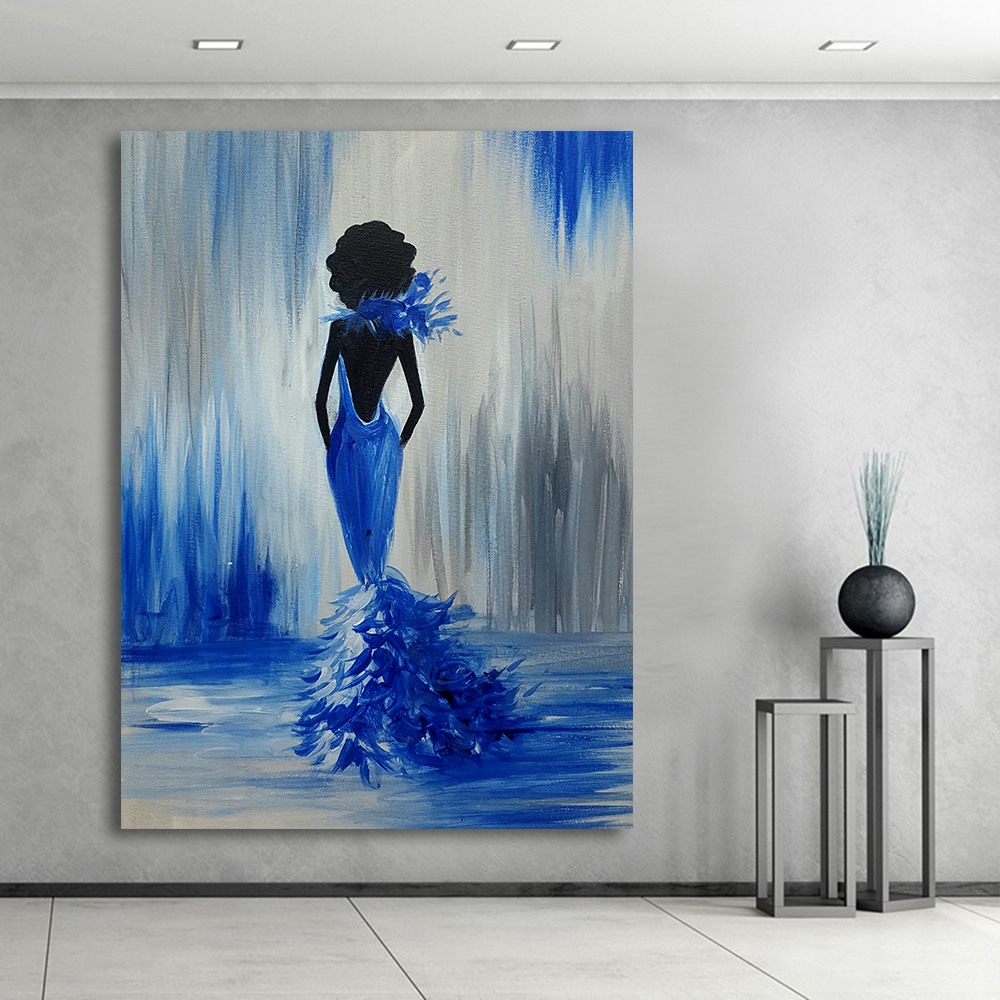 Modern Painting Canvas Basketball Wall Pictures Home Decor: JQHYART Oil Painting Canvas Art Abstract Mermaid Home