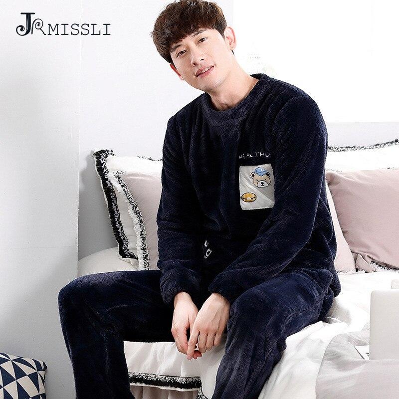 JRMISSLI Good Quality Winter Warm Pajamas Long Sleeve Thickening Flannel Man Pajamas Suit Flannel Leisure Cartoon Home Wear A857