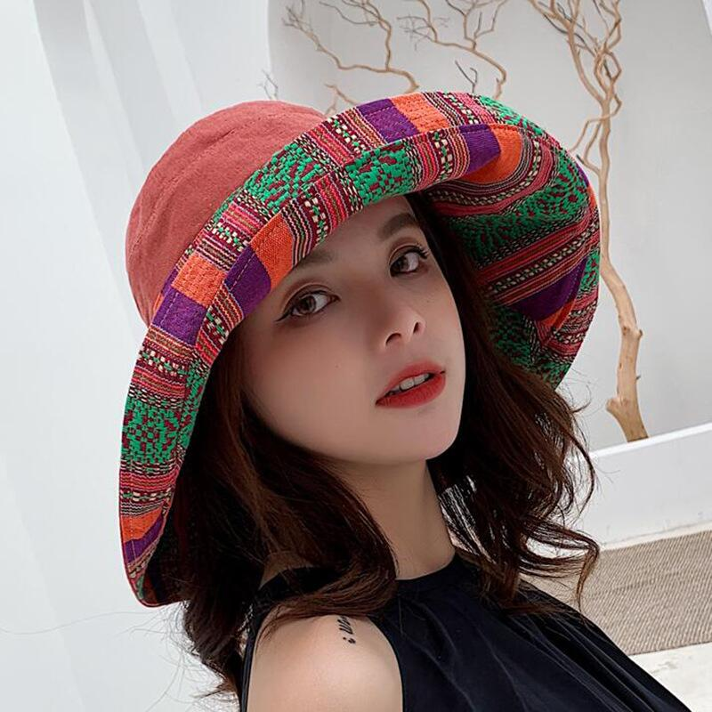 HTB1eHVCJCrqK1RjSZK9q6xyypXaW - Double sided irregular Pattern Bucket Hat Women Summer Cotton Breathable Leisure Bob Caps Outdoor Sports Casual Dome Panama Cap