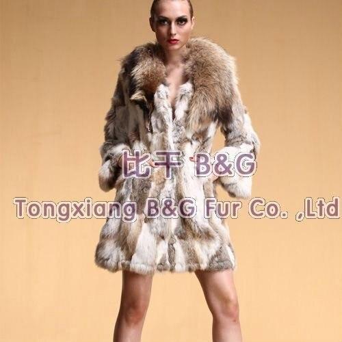 BG5773 Newest Genuine Rabbit Fur Coat with Raccoon Dog Fur Collar Wholesale Winter Women's Genuine Rabbit Fur Coat Plus Size Fur