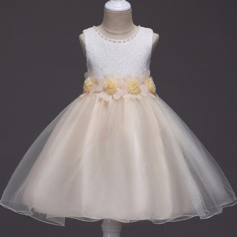 Girls Flowers Wedding Dress kids Elegant Sleeveless Lace Tulle Dresses girls Princess Party long Dress baby girls clothing 3-14