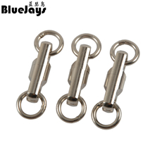 BlueJays 10pcs/lot Stainless Steel Column type rotary ring Bearing Swivel Fishing Swivels Hook Lure Connector Fish Accessories(China)