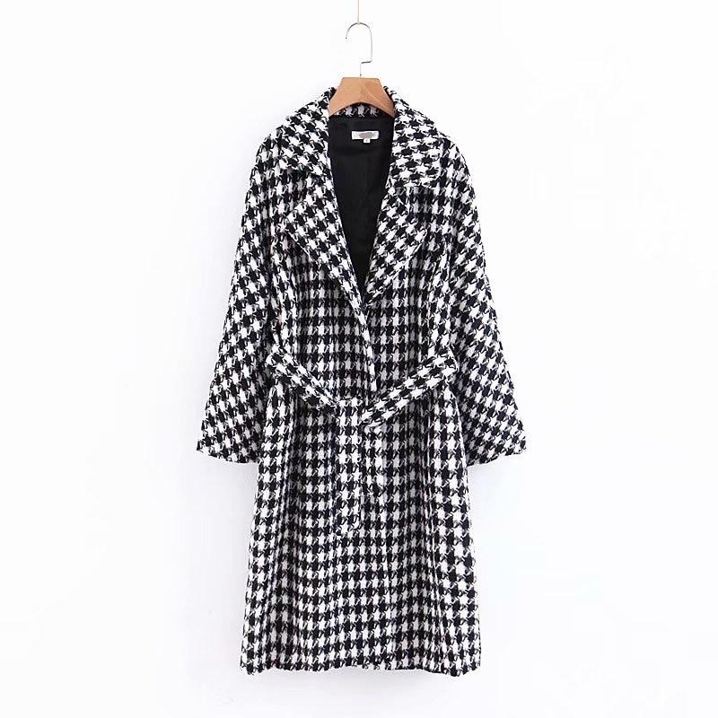 2018 Women Winter Houndstooth Print   Trench   Female Fashion Autumn Warm Coat Feminine Adjustable Waist Slim abrigos mujer invierno