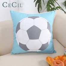 Cecil Sports Football Pattern Pillow Cover Home Decor Sofa Car Cushion Linen Cotton Print Case Pillowcase 45*45cm