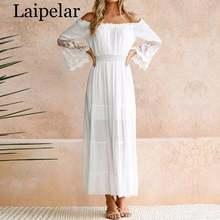 Laipelar Летний Сарафан длинное женское белое пляжное платье