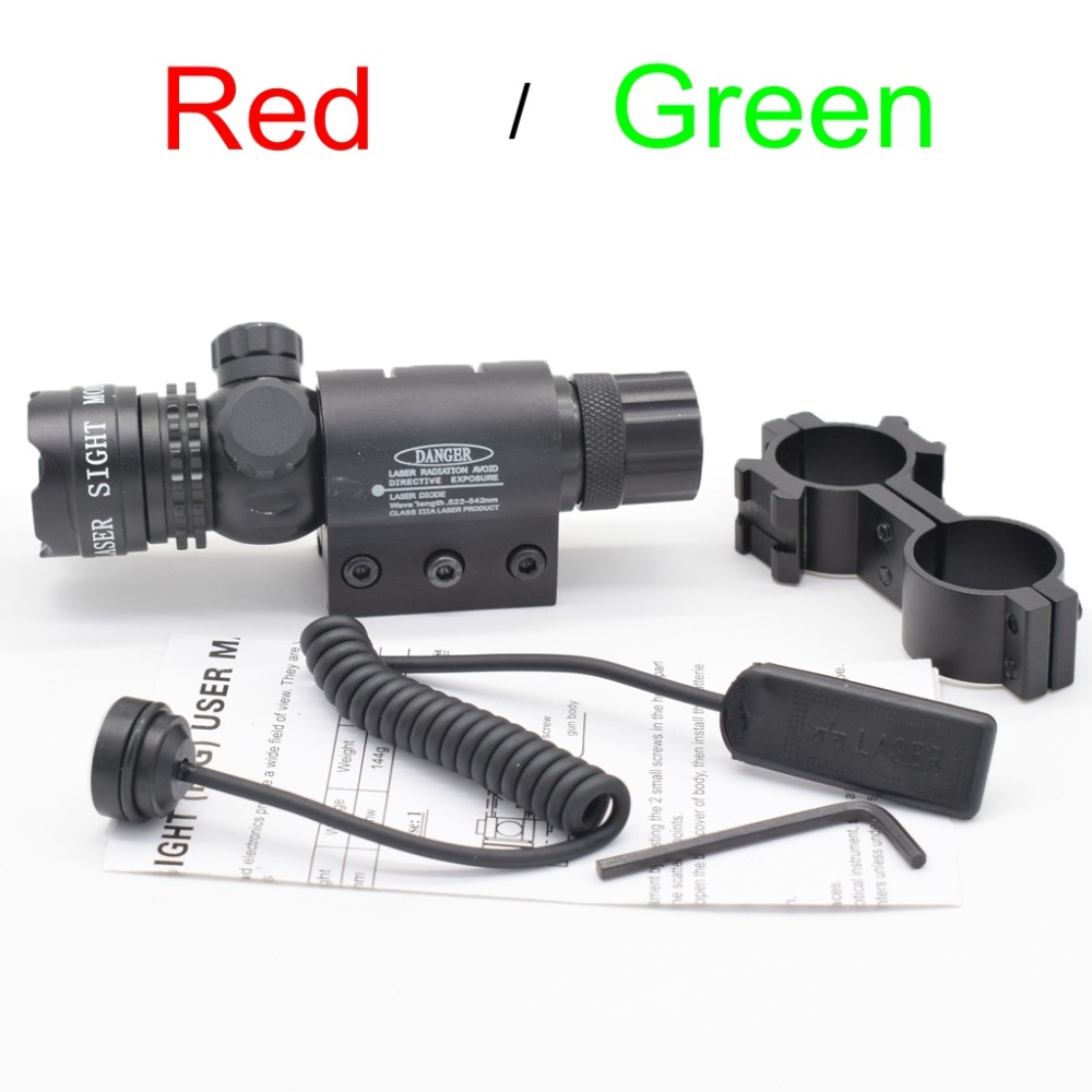 Tactical 5mw Red Laser Sight Rifle Scope Riflescope Designator 20mm Mount Tail Switch para caza