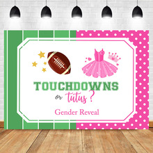NeoBack Touchdowns or Tutus Backdrop Gender Reveal Photography Background Football Theme Baby Shower Party Banner Backdrops