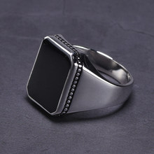 Real Solid 925 Sterling Silver Ring Simple For Men Imitated Black Stone Square Flat High Polishing Middle East Turkish Jewelry(China)