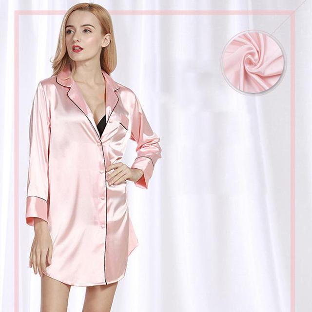 Women Nightwear Sexy Silk Nightdress Babydoll Nightdress Long Sleeve Shirt Blue Housewear Sleepwear White Black Pink Sleepwares 3