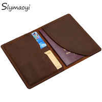 Slymaoyi Vintage Men Genuine Leather Passport Cover Travel Passport Holder Bag Passport Case Wallet License Credit