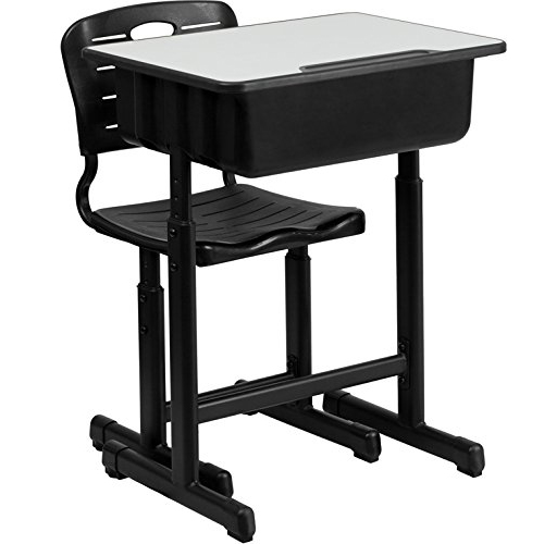 Adjustable Students Children Desk And Chairs Set Black Dropshipping