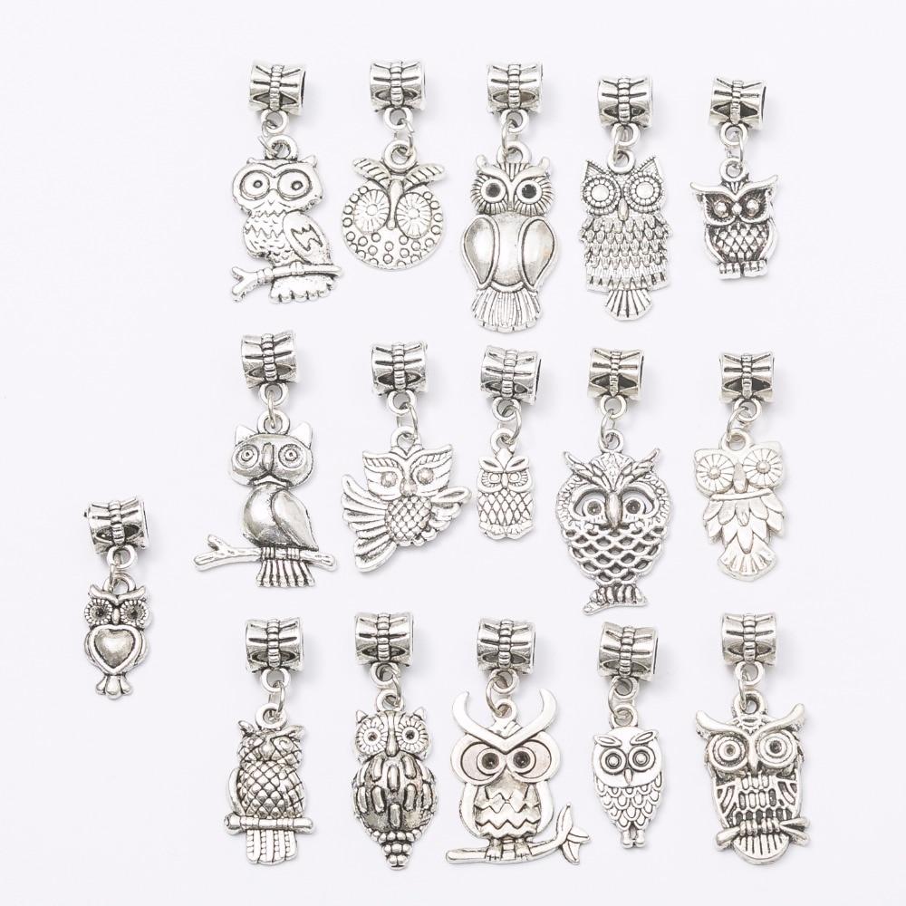Mix 16pcs owl charm Tibetan silver Bead Charm big hole pendant fit Pandora charm bracelet DIY pendant JS665